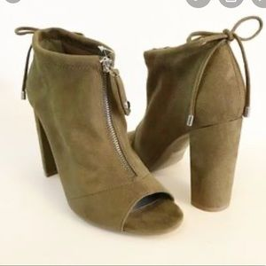 G by Guess Open Toe Suede Bootie Green Tie Stacked